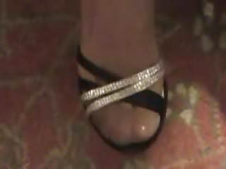 Nylon shoe footjob - Stocking feet in sexy strap shoes