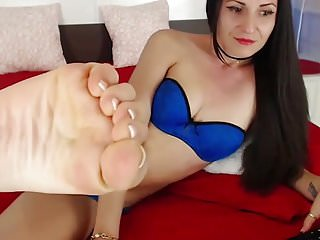 French pedicure tgp Women showing her feet and soles - french pedicure