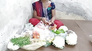 Indian girl selling vegetables hard fucking in the public pl