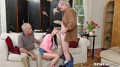 Old dude fucks Crystal Rae in throat and pussy
