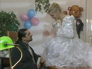 Bride lingerie Blonde european bride gets licked and ass fucked