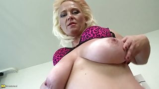 Slutty step mom with big saggy tits and very hungry pussy