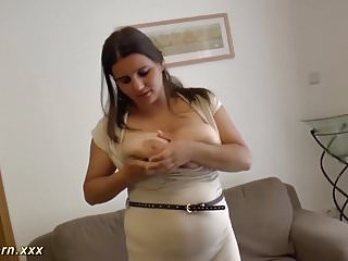 Squeze breast Chubby big natural breast milf gets rough fucked