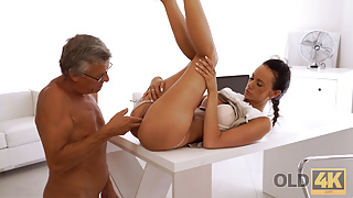 OLD4K. Old step dad with glasses nails young pussy on the office