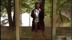Crazy Ebony Mom fuckin in the car and outdoor