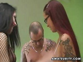 Eating lesbian ffm - Amateur ffm threesome with lesbian and cumshot