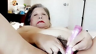 Dressed up, needed to masturbate with dildo & piss. Mature woman