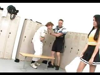Sex locker room cheerleader Brunette cheerleader nailed in the locker room