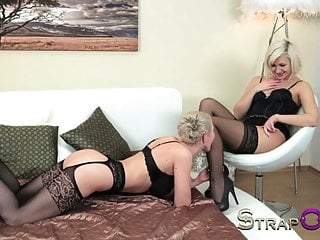Sensual lesbian videos - Strapon sensual lesbian love making with two hot blondes