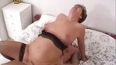 Milf in Stockings Sucks and Fucks