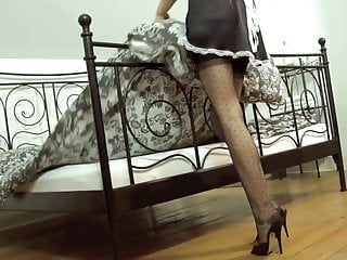 Tranny costumes - Nylon footjob with redhead milf in maid costume