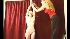 Mistress spanks her skinny sub