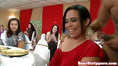 Real CFNM babes served cock at dinnerparty