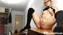 Incredible nerdy stepsister in knee socks masturbating