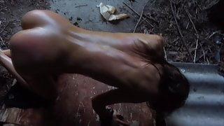 Skinny bdsm pornstar Sarah Kay dominated and bull whipped