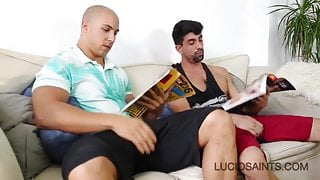 Hot straight guy wanking at friends