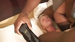 cuckold wife hard fuck with BBC interracial threesome bull
