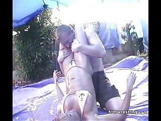 Mixed oiled erotic Mixed wrestling in oil - army vs navy