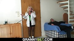 Very old blonde granny in stockings