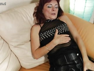 Redhead pussy mature Redhead granny loves to work her hairy pussy