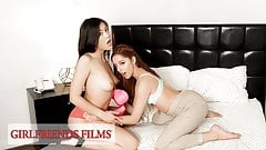 GirlfriendsFilms - Asian Lesbian Seduces Redhead Teen Intern