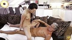 DADDY4K. Bad girl starts caressing herself sitting near old guy