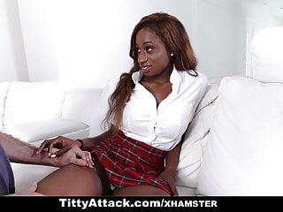 Busty ebony marc - Teamskeet - busty ebony teen rubbed and plowed