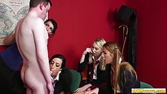 Cockhungry CFNM schoolgirls sucking lucky guy