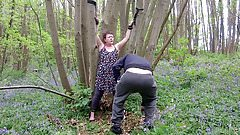 Mature Tiny Tit Slut Tied Stripped & Humiliated in the Woods