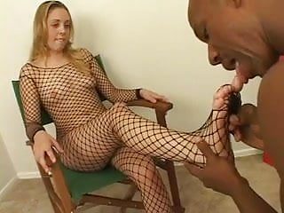 Pussy cum fetish - Big black stud loves throat fucking then cumming on white girl feet