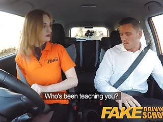 Sexy fake titted redheads Fake driving school sexy ginger geek girl in glasses