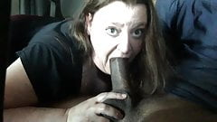 Cheating wife sucking black cock and eating cum