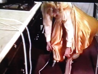 Vintage western skirts Wife in gold satin skirt dominated by husband 2