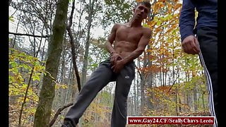Scally chavs jerk off in the wood