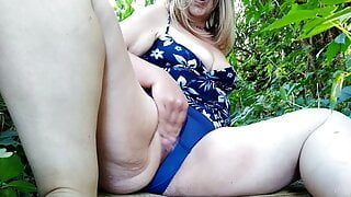 I masturbate with my legs spread wide and get an orgasm