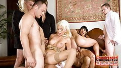Two Hot Gold Diggers Get Gangbanged By Horny Rich Men