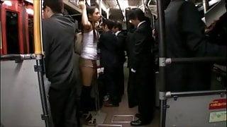 censored Rina Hukada groped on train thighjob