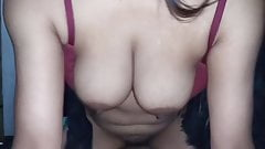 Showing Big Boobs With Fuck Hubby in Night
