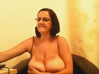 Boobs glass Milf with glasses shows her big boobs