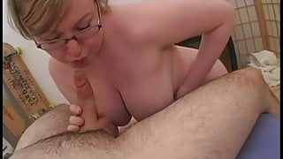 Curvy blonde milf tit fucked and sucking her mans cock
