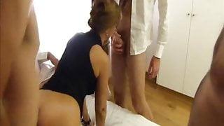 Married French slut spit roasted