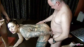 GERMAN BBW MIA BLOW SPERM CAKE EATING MFM THREESOME SEX