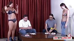 Two Couples play highest card wins, loser strips