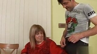 Grandma Susanna fucks her girlfriend's son