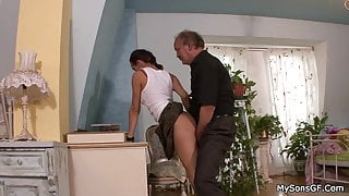 Moustached old man forced step son's gf to sloppy fuck