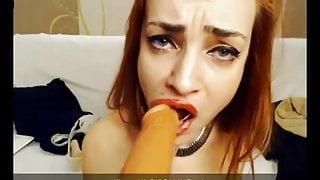 hardcore deepthroat & anal gaping for redhead skinny slut