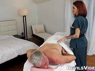 Custom fit condom Petite redhead provides customer with hot sex massage