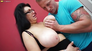 Big breasted mom fucking and sucking step son