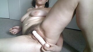 Rubbing Dildo Between Hairy Pussy Lips