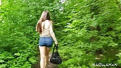 Evelina Darling ass fucked in the park! Public pee in the park
